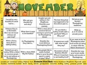 november thanksgiving writing prompt calendar common standa