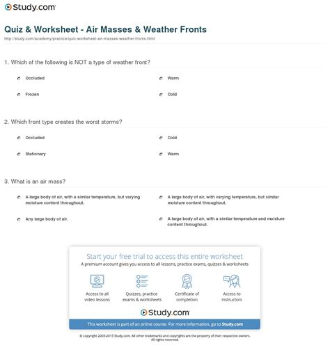 Quiz & Worksheet  Air Masses & Weather Fronts Studycom