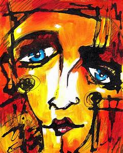 Red Abstract Face With Blue Eyes Painting by Chris Bradley