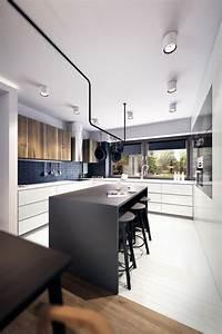 Cuisine Noir Et Blanc : decoration cuisine m langez le noir le blanc et le bois ~ Melissatoandfro.com Idées de Décoration
