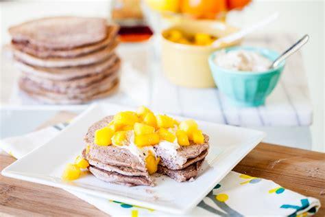 Blue Corn Pancakes With Sweet Cashew Ricotta And Mango