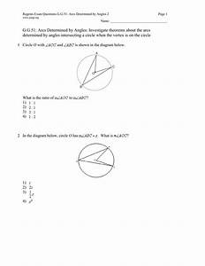 Regents Exam Questions G G 51  Arcs Determined By Angles 2