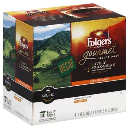 Folgers classic roast coffee is classic for a reason—that consistently rich, pure taste, cup after cup and the best part of wakin' up for more than 150 years. Folgers 100% Colombian Decaf Coffee, Medium-Dark Roast, K-Cup Pods for Keurig K-Cup Brewers, 18 ...