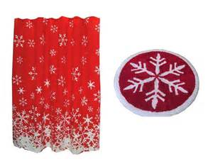 christmas red white snowflakes shower curtain hooks amp
