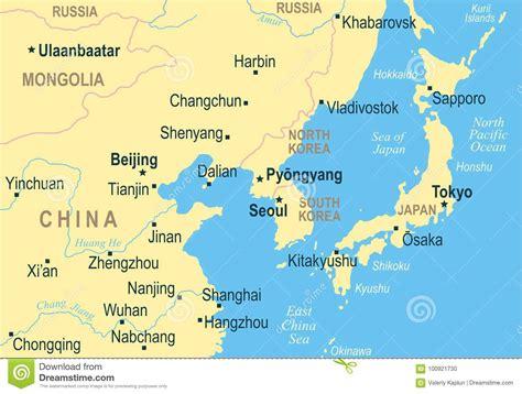 north korea south korea japan china russia mongolia map