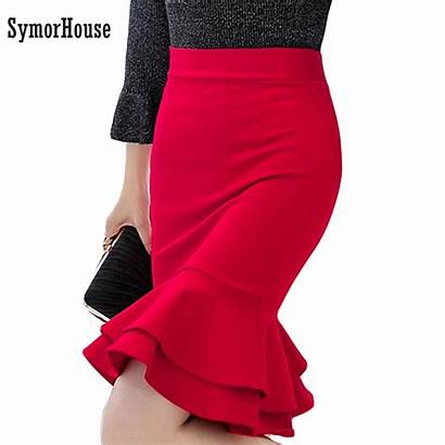 Skirt Pencil Business Bodycon Wear Skirts Ruffles
