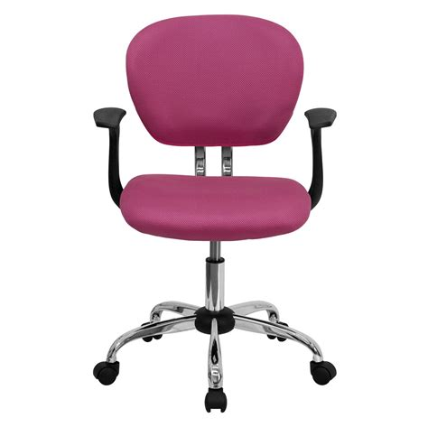 mid back pink mesh task chair with arms and chrome base h