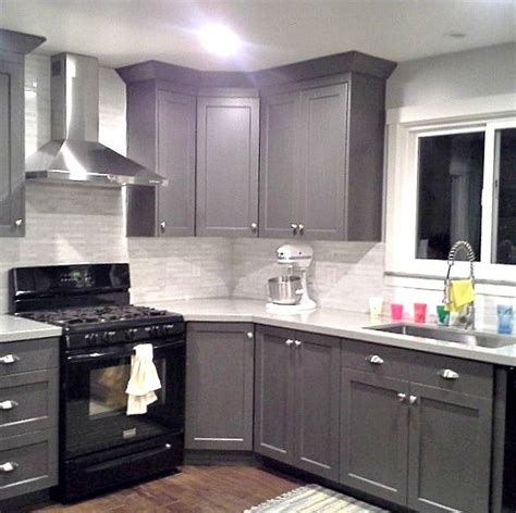white kitchen cabinets and black appliances grey cabinets black appliances silver hardware 2048