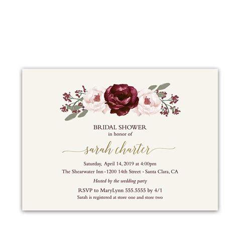 Bridal Shower Invitations Burgundy Wine Blush Florals Gold