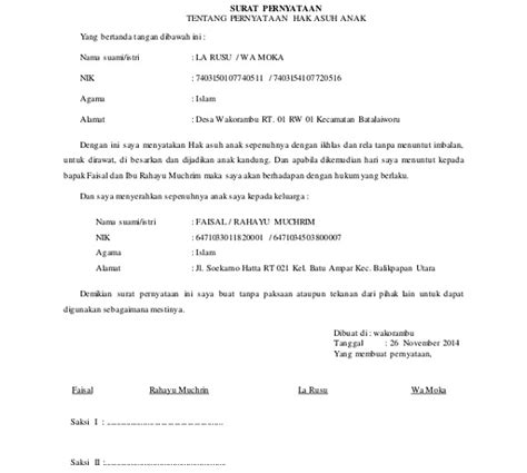 surat pernyataan hak asuh anak pasca perceraian suratkerja