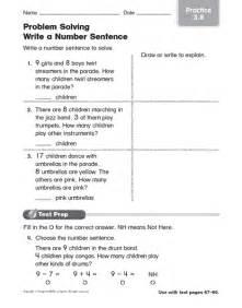 Number Sentence Worksheets 2nd Grade