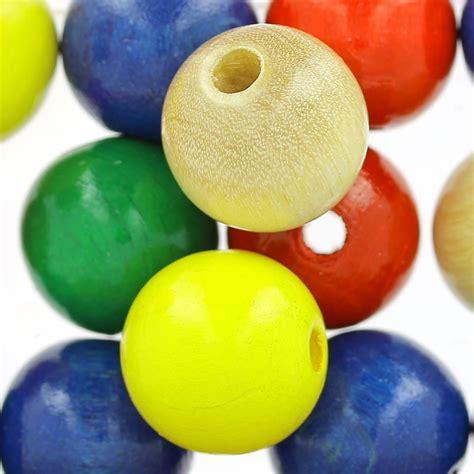 grosses perles rondes en bois 15 mm multicolore x15 perles co