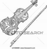 Coloring Violin Ornamental Clip Fiddlestick Isolated Fotosearch Adult Children Vector sketch template