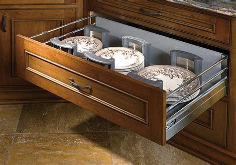 stainless steel deep drawer  adjustable plate holders dewils custom cabinetry