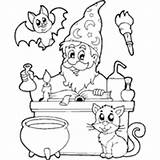 Coloring Pages Potion Surfnetkids Cat Magic Wizard Kitten sketch template