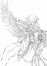 Demon Angel Coloring Pages Demons Angels Anime Drawings Printable Manga Getcolorings Print Fine Deviantart sketch template