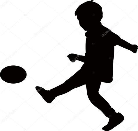 Silueta Hombre Jugando Futbol Niño Jugando Fútbol Vector