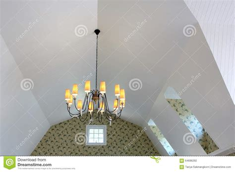how to add a chandelier to a ceiling fan chandelier hang on sloped ceiling stock photo image of