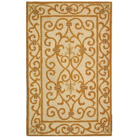 4 Area Rugs by Safavieh Chelsea Ivory Gold 3 Ft X 4 Ft Area Rug Hk11p
