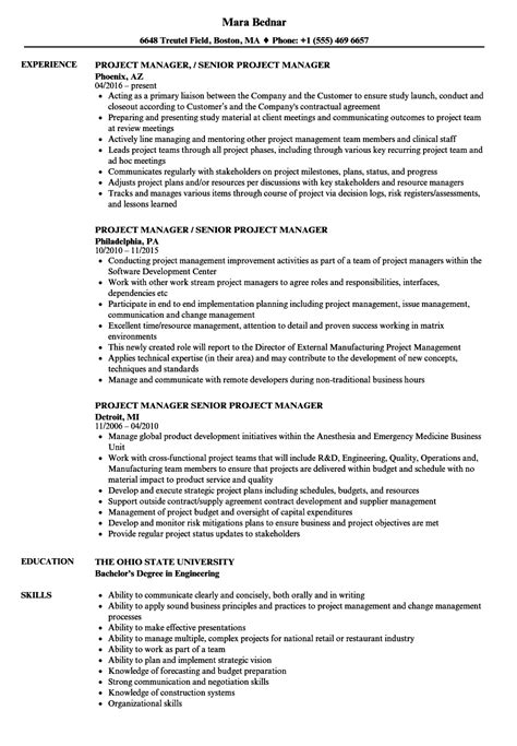 Senior Project Manager Resume Summary by Manager Senior Project Manager Resume Sles Velvet