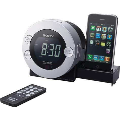 iphone clock radio sony icf c7ip clock radio for ipod and iphone icfc7ip b h