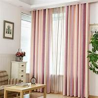 curtains for bedroom Pink Striped Jacquard Linen/Cotton Blend Modern Curtains ...