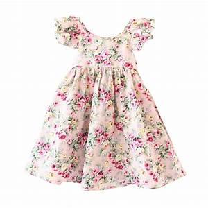 summer dress for baby girls clothes print vintage floral ...