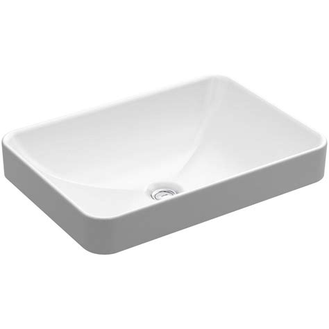 wall mount bathroom sink faucet installation kohler vox rectangle vitreous china vessel sink in white