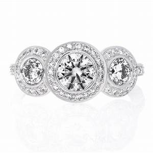 Platinum three stone halo bezel set diamond engagement for Three stone wedding ring set