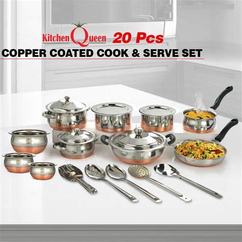 buy  pcs copper coated cook serve set    price  india  naaptolcom