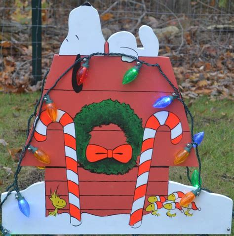 lawn stake christmas decorations yard art snoopy peanuts