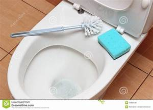 Accessories For Cleaning On Toilet Bowl Stock Photo ...