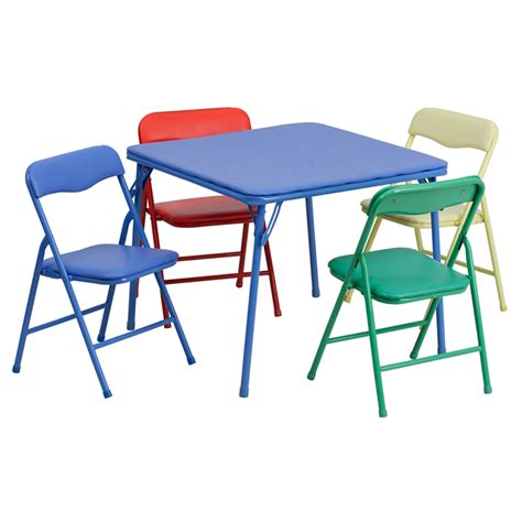 colorful 5 folding table and chair set at
