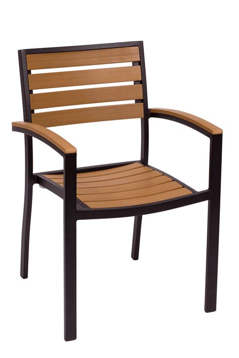 commercial outdoor stacking arm chair with black or silver