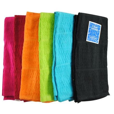 Wholesale Bright Kitchen Towel 6 Ass't Solid Colors 15x25