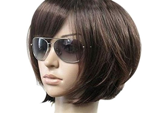Kalyss Women's Short Bob Wig With Hair Bangs Imported Heat