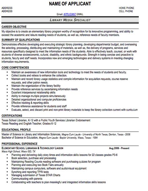 Professional Membership Resume Exle by Librarian Resume Sle Free Resume Template