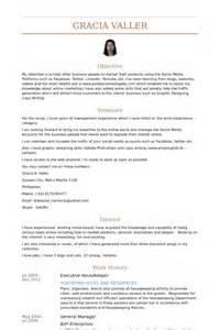 resume for housekeeping manager housekeeper resume sles visualcv resume sles database