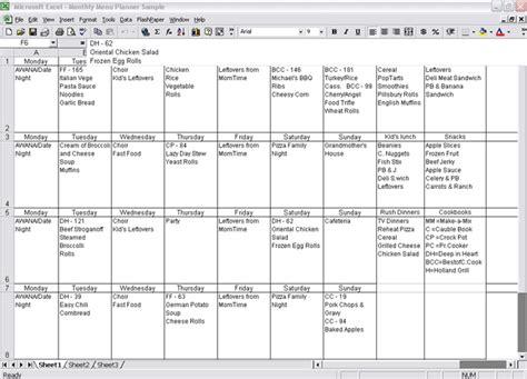 monthly menu template 8 monthly menu planner template procedure template sle