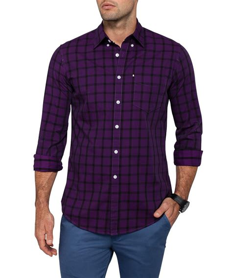 van huesen casual purple check shirt van heusen casual