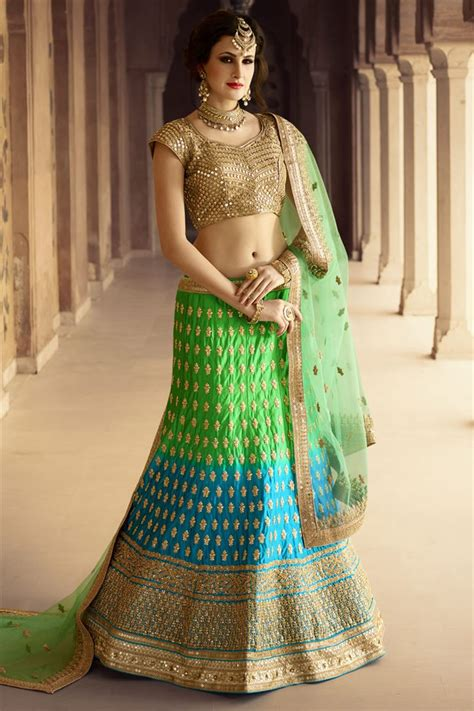 rama blouse green rama satin heavy embroidery designer bridal lehenga