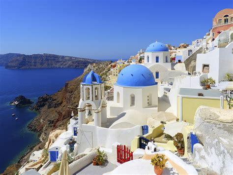 Idyllic Village Oia On Santorini Island Greece Hd