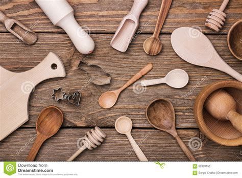 Set Of Kitchen Utensils On The Table Stock Photo   Image