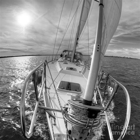 Sailboat Black And White by Sailing Yacht Fate Beneteau 49 Black And White Photograph