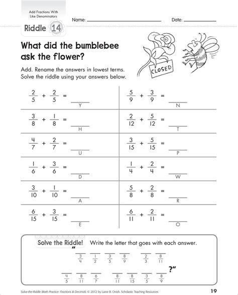 math worksheets common denominators greatest common