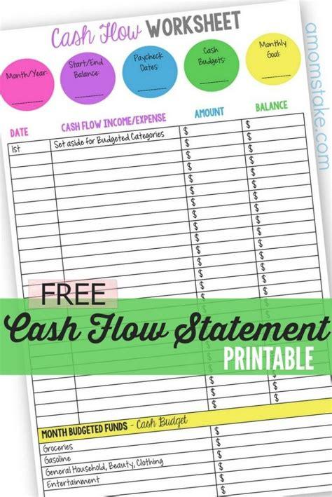 personal cash flow statement worksheet cash flow