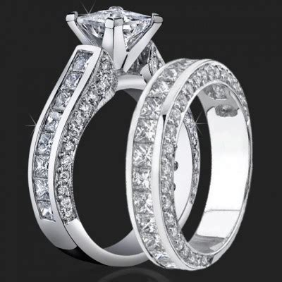 jewelers impressive princess cut engagement rings with well over 3 carats of diamonds 3 68 ctw