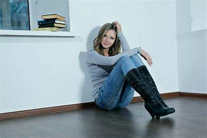 Boots Jeans Leather Blonde Catherine Smiling Knee
