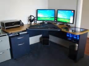 Ikea Linnmon Corner Desk Setup by Custom Computer Built Into Desk 187 Woodworktips