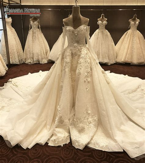 luxury long wedding dresses cathedral train  long
